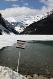 Lake Louise still have frozen over in May,.