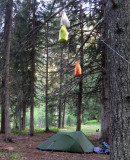 Hanging the food supplies away from bears (we hope!) Montana