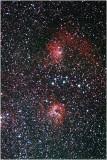 Nebulae IC405 (above) & IC410 in Auriga