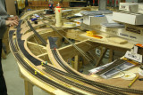 Taking shape;  multiple curved turnout beds ready for rail