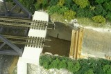 Aerial view of right hand abutment modification process