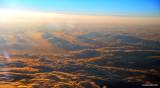 sunset over Oregon at 43,000 feet