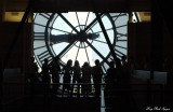 tourists looking out Musee d'Orsay