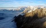 Hugging the ridge in Alps