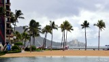 Hilton Lagoon, Rainbow Tower, Diamond Head, Waikiki, Oahu, Hawaii