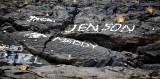 names on lava rocks, Kahola Highway, Big Island, Hawaii