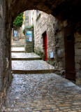 Steps and red door, Les Baux de Provence