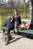 Enjoying a sunny day in Jardin Brassai