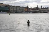 Lonely fisherman off Skeppsholmen