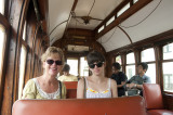 Riding the tram from Foz to the center of Porto