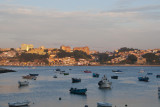View of Porto at sunset across the harbor at Foz