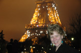 Jill and the Eiffel Tower on a foggy evening