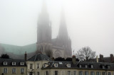 Chartres Cathedral through the fog
