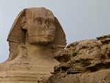The Sphinx from same spot, w/zoom Note Pharoah's headdress