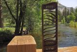 Swinging Bridge. Flood height marker--TOP is height of flood waters in 1997.  #4209