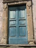 Blue-green door closer up