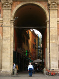 Archway and street leading off Piazza Maggiore
