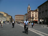 Cycling across the piazza