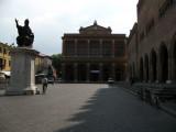 Shadowed Teatro Galli on Piazza Cavour