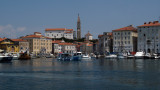 Harbor view with belltower of Church of St. George