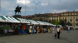 Event stalls in front of Zagreb station