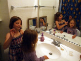 Beth doing Katie's hair