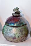 And one more raku burned ceramic pot