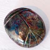 Raku-burned ceramic scarab