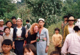 Passing through a Muong Village on the Trek