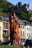 Statue in St Goarshausen with Burg Katz Above-DSC_6346-800.jpg