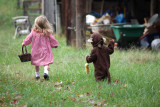 Little Red and Little Monkey frolicking