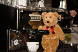 Trying my paw as a bear-ista at the Lord Lyndoch