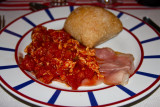 Piperade au jambon du pays (Country ham with local peppers)