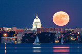 Madison Skyline and Moon