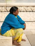 Woman on the steps of  Taj Mahal