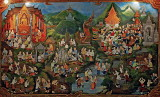 Painting of daily life in old Chiang Mai