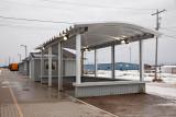 Covered structure beside passenger platform in Moosonee