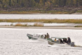 Two water taxis headed to Moose Factory from Moosonee