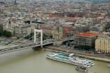 Erzsébet Bridge and Pest - View from Ciudadela