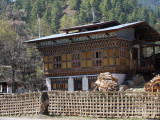 New house built in traditional style, Zungney, Bhutan