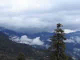 Snow shower clearing from the Dochu la, Bhutan