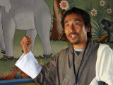 Our local guide Norbu explaining the meaning of one of the paintings, Punakha Dzong