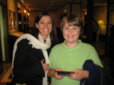 Melissa and Brendon with his ever present Nintendo DS.  Heading to dinner, late....