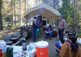 The kitchen in the woods, dinner is in the Dutch ovens