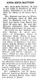 Shown above is the printed obituary for, Hannah Sofia [Johnson] Mattson, printed in the Newberry News, newspaper. It was printed 05 November 1943.