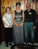 Shown above is Salena Marie Robinson with her paternal granbdparents, on the night of her Sr. prom. Salena Marie Robinson is the daughter of, David Arthur Robinson & his wife, Lois Marie [St. Clair] Robinson. Shown above, left to right is, Lucille Alena [Mattson] Robinson, Salena Marie Robinson, and her grandfather, Harold Everette Robinson.