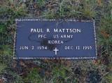 The gravestone ofr, Paul Richard Mattson.