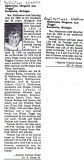Margaret was the third of eight children born to, Norman Shelson & his wife, Marian L. [Mattson] Shelson. Shown above is the obituary printed for her in the Bay City Michigan newspaper.