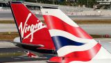 British B747-436 G-CIVH and Virgin Atlantic B747-443 G-VGAL tails airliner aviation stock photo #2934