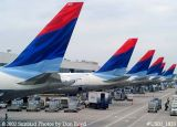Six Delta Airlines B767 tails at Atlanta Hartsfield International Airport airline aviation stock photo #US02_1853
